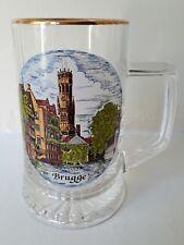 Brugge Bruges Belgium Glass Stein/Tankard.15 Centimetres Tall.Belfry Canal Scene
