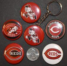 "Set of 5 1 1/2"" Pinback Buttons Cincinnati REDS + Key Chain Retro Keychain"