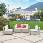 4pc Patio Furniture Wicker Rattan Outdoor Sectional Sofa Table Cushion Garden