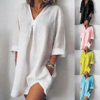 Women Long Sleeve V Neck Mini Dress Summer Long Shirt Dress Tops Blouses NEW