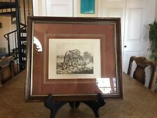 Framed and Matted 1894 Engraving Ox and Sheep from an Etching by A. Van de Velde