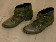 Stivaletti borchie fibbie grigi FCUK grey studded triple buckle ankle boots 37 4