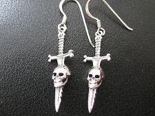 Schwert mit Totenkopf 925'er Silber Ohrringe Ohrhänger Paar      / KA 767 o