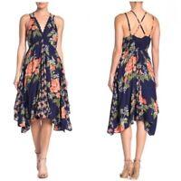 NWT Angie Navy Blue V-Neck Floral Scarf Uneven Hem Summer Sun Midi Dress S/M/L