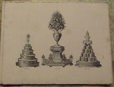 1883 Ancienne Gravure Pâtissiers Confiseurs Vase aux Fleurs Glace Pastillage