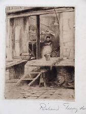 Fine grabado por Richard Toovey (1861-1927) la señora Neales pescado Shop, Coventry.