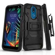 for LG K40, [Tank Series] Phone Case Cover & Holster Belt Clip +Tempered Glass
