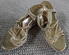Michael Kors Strappy Gold & Rope Wedge Sandals