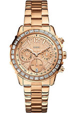 GUESS W0016L5,Women's Chronograph,Rose Tone,Genuine Crystal Accents,50 m WR