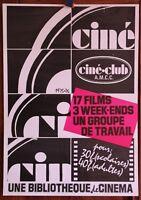 Affiche de 1975-1976 ✤ Ciné Club ✤ AMCC Chambéry ✤ 40 x 60