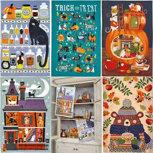 Ulster Weavers Halloween Cotton Tea Towels Trick or Treat, Spooky House, Pumpkin