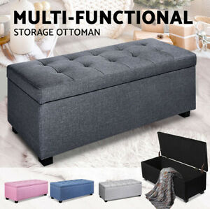Ottoman Linen Fabric Faux Storage Blanket Box Fabric Chest Toy Foot Stool Bed