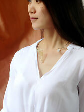 Necklace Ras neck Golden Tough Pendant Fringe Tassel Modern Simple QT 3
