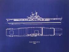 1939 USN Carrier USS Wasp CV7 Sank WW2 Blueprint Drawing 23x27 (030)