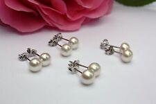 Weiß 6mm 4 Paar Süßwasser Zucht Perle Schmuck Set Ohrringe Ohrstecker 925 Silber