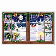 Large CHRISTMAS EVE Window Scene Party Decoration PHOTO PROP Santa Reindeer