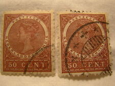 Netherlands Indies Stamp 1902 Scott 57 A9  Red 50 Cent Set of 2