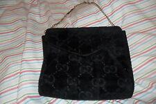 Vintage GUCCI Velours Noir GG Monogramme Et Cuir Sac De Soirée Sac à main