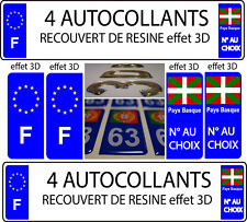 """4 stickers plaque immatriculation auto TUNING DOMING 3D RESINE PAYS BASQUE + """"F"""""""