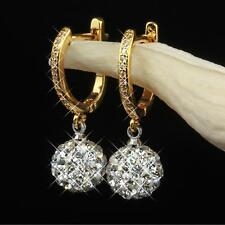 Shamballa Ohrringe 10 mm Strass Kristall 750er Gold 18K vergoldet O1568S