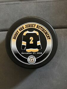 OSHAWA GENERALS BOBBY ORR JERSEY RET. 11/27/08 OHL GAME PUCK EXTREMELY RARE!!