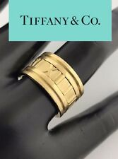 Tiffany & Co ATLAS Roman Numeral 12mm WIDE Ring 18K Yellow Gold (750) ~ Size 7.5