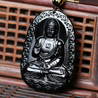 Natural A Obsidian Carved Buddha Pendant Rope Gift Releases Positive Energy
