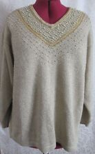 Fitting Image beaded metallic acrylic polyester beige holidays sweater sz 22/24