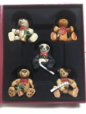 North Pole Collectibles Teddy Bear Christmas Ornaments Ceramic Set of 5