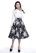 Plus Size Rockabilly Retro Swing Skirt - Black/White - Sizes 18 to 28