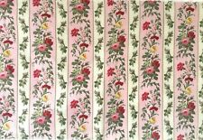 Beautiful 19th C. French Cotton Printed Floral Striped Fabric  (2766)
