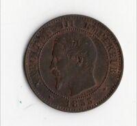 QUALITE MONNAIE DE 2 CENTIMES NAPOLEON III BRONZE DE 1855 BB ( STRASBOURG ) RARE