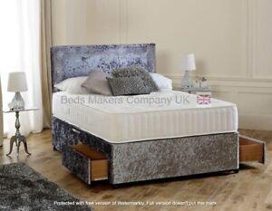 Elegant Crushed Velvet Divan Bed with Storage Option  ✅BEST ONLINE