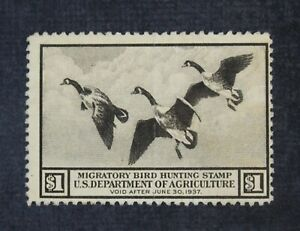CKStamps: US Federal Duck Stamps Collection Scott#RW3 $1 Unused NG Light Crease