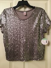 """Bongo Jr's Girls Sequence Tee Grey"""" Size XL New With Tags 💕💕"""