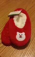 New With Tags Girl's Red Fleece Sherpa Lined Slipper Socks - S/M shoe size 8-13