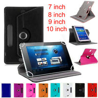 "360°  Universal Leather Stand Case Cover For Android Tab Tablet 7"" 8"" 9"" 10"" LOT"