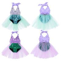 Baby Girls Halter Mermaid Romper Dress Summer Outfit Tutu Skirt Christmas Set