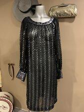 Stunning Black Silver Vintage 1980's Dress