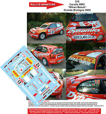 DECALS 1/18 REF 515 TOYOTA COROLLA WRC MILNER YORKSHIRE RALLY 2002 RALLYE