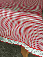 Red French Country Gingham Check 180cm Round Table Cloth