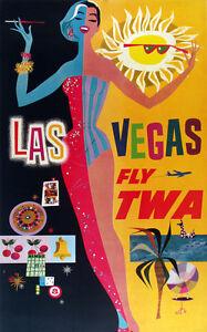 Vintage David Klein TWA Poster Las Vegas Mid Century Modern
