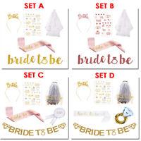 5/6pcs Bride to Be Set Hen Party Kit Bridal Shower Accessory Wedding Sash Veil