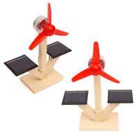 HN- CW_ Kids DIY Solar Fan Model Wooden Material Science Experiment Discovery To