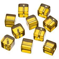 Pequeñas cuentas de Vidrio Transparente Cubo De Cobre 8x8mm Paquete de 10 (B52/4)