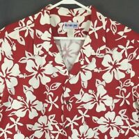 Aloha Line Hawaiian Shirt 2XL Red Floral Hibiscus Pattern Cotton Aloha