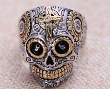 925 Sterling Silver men's Biker skull CROSS ring Rings jewelry P112   US size 10