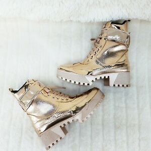 Lynn Rose Gold Champagne Lug Sole Lace Up Combat Boots
