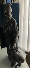 Vintage Solid Bronze Large 2' Statue Warrior With Goat