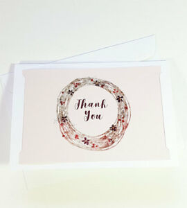 Thank You Cards Notes Flower Wedding Business Birthday Thankful AT THANK42